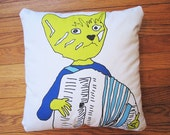 Pillow-  Accordion Playing Cat  in Blue- Francois