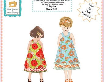 Sunny Scallop Dress ..... Now an e-Book PDF downloadable pattern ... Size 2-10 ... sewing pattern dress .... dress pattern instant download