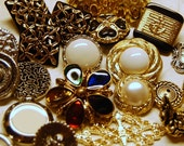 Destash Lot of Vintage-Look Silver, Gold and Bronze Buttons and Cabochons