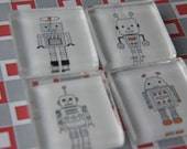ROBOT magnets, glass square, neodymium Rare Earth magnets, handmade by TLGCRAFTS on Etsy