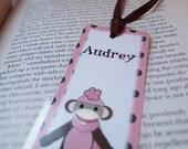 Bookmark -  PINK Polkadot  Girl Sock Monkey, Personalized, handmade by tlgcrafts on ETSY