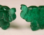 Elephant Beads Emerald Green Glass