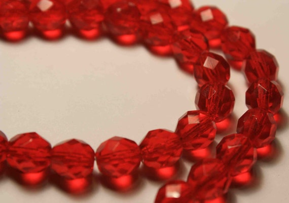 RESERVED FOR Anja - 8mm Fire Polished Faceted Ruby Red Czech Glass Beads 20