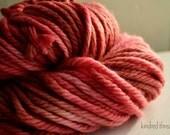 Chunky Mama superwash merino  hand dyed yarn in Coral