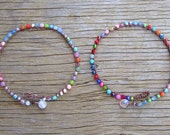 HALF PRICE Sunkissed crocheted anklets for summer, with gemstones, beachy,  on front page of etsy