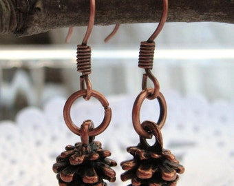 10% 0ff Adorable copper Pine cone earrings/rustic/earthy/woods/hiker/natural wear