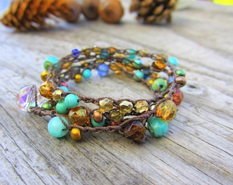 Tuscany 5X crocheted wrap bracelet/ gorgeous/boho/blue/chocolate brown/gold/ natural/earthy