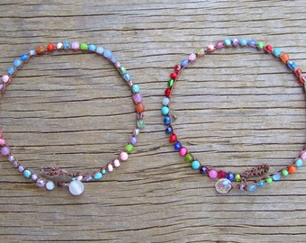 Sunkissed crocheted anklets for summer, with gemstones, beachy,  on front page of etsy