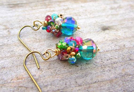 Sparkling faceted Teal crystal crocheted jewelry cluster earrings
