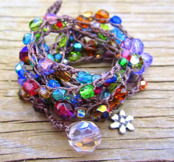 Vintage rose crocheted wrap bracelet/boho/bohemian/surfer/glam/hiker/earthy