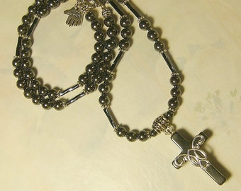 Hematite & Silver Cross Necklace 21 inch 565
