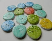 Set of 14 buttons in handmade polymer clay -faux ceramic