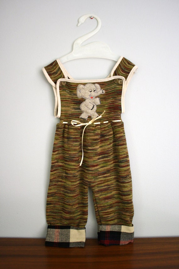 Vintage 70s 80s Space Dyed Elephant Applique Sweater Overalls 9-12 months