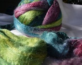 Hand Dyed Tussah Silk Roving 3