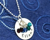 Hand Stamped Custom Sterling Silver 3/4 inch Name Charm Necklace with Crystal Birthstones