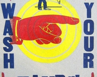 WASH YOUR HANDS LetterPress Poster