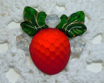 18mmx20mm foiled West German Strawberry Cabochon