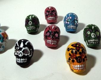 Tiny Dia de los Muertos Sugar Skull Bead with jeweled eyes (2)