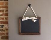 Antique framed chalkboard, recycled wood frame, natural cream ribbon