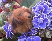 Custom Pet Portrait / Handmade Needle Felted Dog / Animal Sculpture / Miniature of your pet / Cute / Poseable Art / example Dachshund Doxie