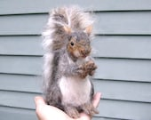 Handmade OOAK Needle Felted Animal / Squirrel Sculpture by Fiber Artist GERRY Poseable example Large size