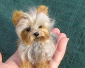Felted Miniature of your Pet Custom Pet Portrait / Cute / Handmade Poseable OOAK Art Sculpture Personalized Gift / example Yorkie