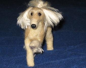 Needle Felted Dog / Custom Pet Portrait Miniature Sculpture of your pet  / Cute / poseable example Saluki