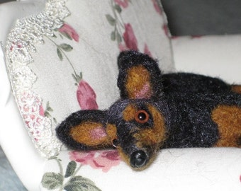 Your DOG as a miniature collectible / example Min Pin / Needle Felted by Fiber Artist GERRY