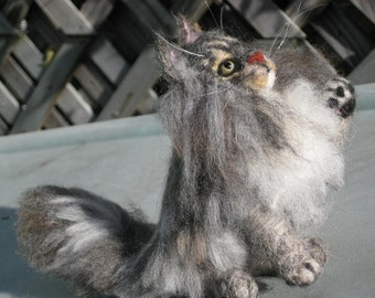 Needle Felted Cat / Custom Miniature Sculpture of your pet / cute / poseable by Fiber artist GERRY