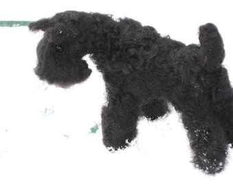 Needle Felted Dog / Custom Miniature Sculpture of your pet / poseable/ example Kerry Blue Terrier