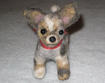 Portrait Sculpture of your pet Needle Felted by Fiber Artist GERRY / Poseable / Chihuahua / Animated style Cute small size
