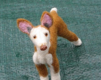 Needle Felted Dog / Custom Miniature Sculpture of your pet / Rare breed Ibizan Hound  by GERRY