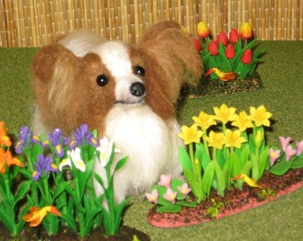 Needle Felted Dog / Custom Miniature Sculpture of your pet Cute Doll Pet / Personalized Gift / example Papillon  small size