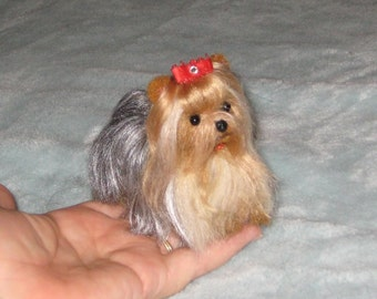 Needle Felted Yorkie by Fiber Artist GERRY / Fully Poseable