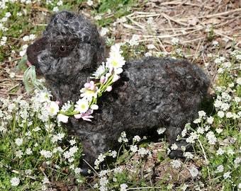 Needle Felting Kit / DIY Craft Kit / Gourmet Felted/ Needle Felt  Poseable Gray Sheep /Felting Needles / Felting wool cute curls /Bonus bell