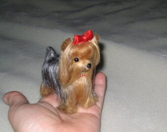Needle Felted Dog / Custom  Miniature Sculpture of your pet / poseable / example Yorkshire Terrier Yorkie