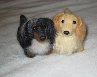 Needle Felted Dog / Custom Miniature Sculpture of your pet / Cute/ poseable by Fiber Artist GERRY / example Dachshund