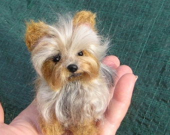 SALE Custom Pet Portrait / Miniature of your Pet  / Needle Felted Yorkie / Handmade Poseable OOAK Art Sculpture Personalized Gift/ SAVE 25