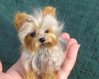 Custom Pet Portrait / Miniature of your Pet  / Needle Felted Yorkie / Handmade Poseable OOAK Art Sculpture Personalized Gift