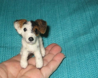 Needle Felted Dog / Custom Miniature Sculpture of your pet / Cute /  poseable by Fiber Artist GERRY/ Cute small size