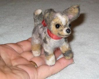 Needle Felted Dog /Custom Miniature Sculpture of your pet Cute/ Animated style / Cute small size