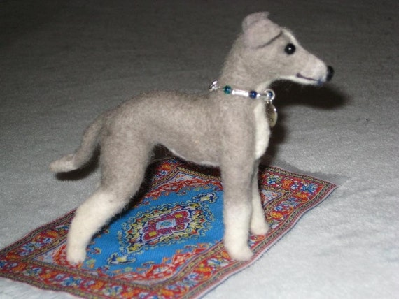 Needle Felted Dog / Custom Miniature Sculpture of your pet / Cute/ poseable by Fiber Artist GERRY