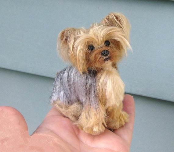 Custom Pet Portrait by Fiber Artist Gerry of Gourmet Felted / Poseable / Vegan fibers / example Yorkie
