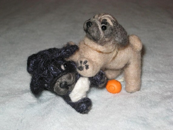 Needle Felted Dog / Custom Miniature Sculpture of your pet Cute / poseable / example Pug puppy / animated style