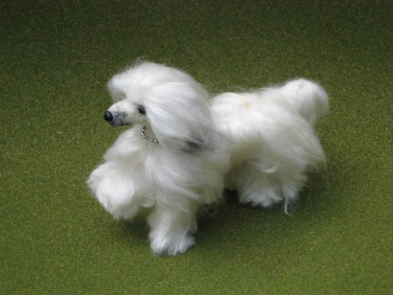 Needle Felted Dog / Handmade Custom Miniature Sculpture of your pet / cute / poseable / example Powderpuff Chinese Crested