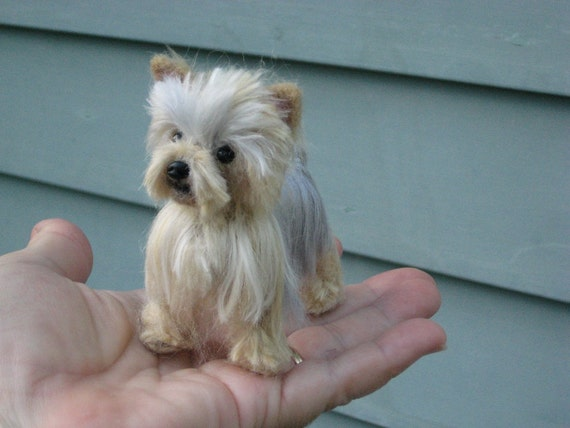 yorkie miniature needle felted yorkie custom miniature sculpture of your pet 6046