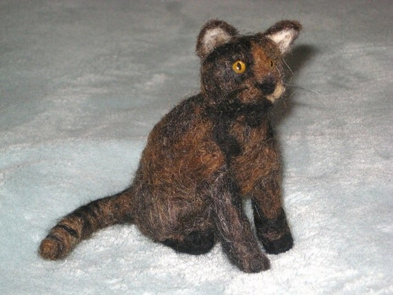 custom felted cat