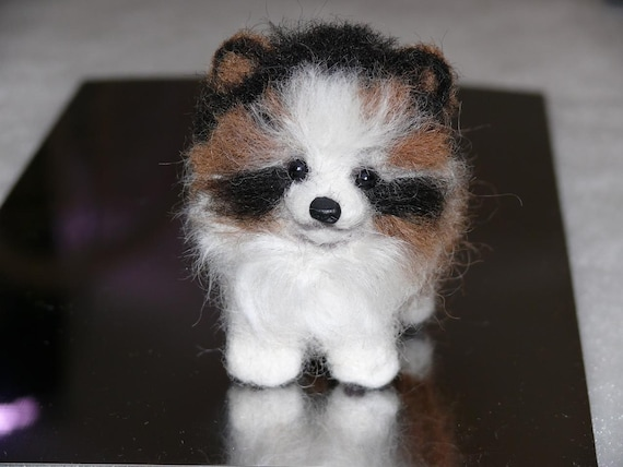 Handmade Needle Felted Dog / Custom Pet Portrait Miniature Sculpture of your pet Cute small size toy style