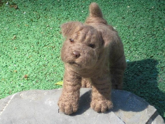 Needle Felted Dog /Custom Miniature Sculpture of your pet / Cute / poseable