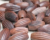 Corrugated Wooden Beads Football Shaped Bicone 10 beads
